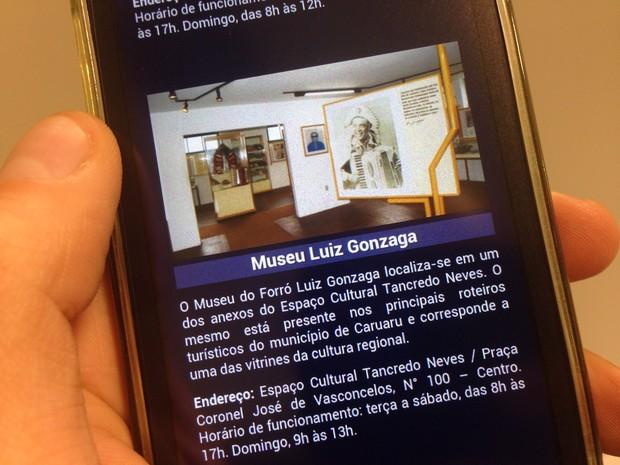 App tem informações e localização dos pontos turísticos e dos museus (Foto: Jael Soares/ G1)