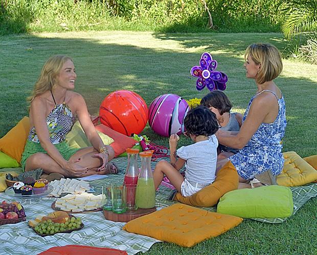 Bianca Rinaldi participa de gravação do Estrelas com as filhas (Foto: Estrelas/TV Globo)