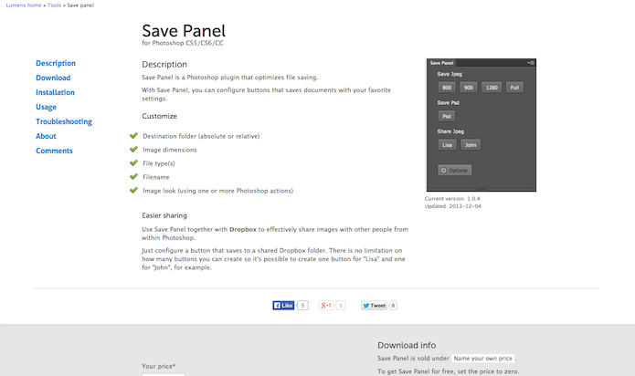 Homepage do site do plugin Save Panel (Foto: Repodução/ Lu Fávero)