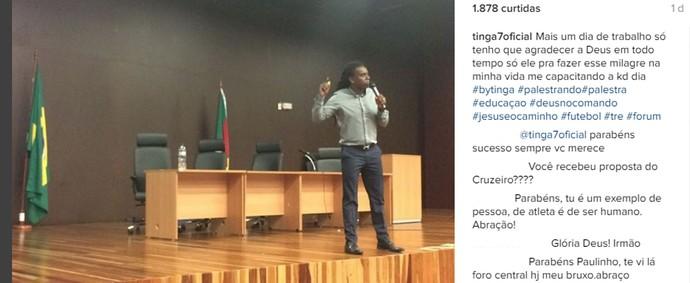 Depois que encerrou a carreira, Tinga começou a fazer palestras sobre futebol (Foto: Reprodução / Instagram)