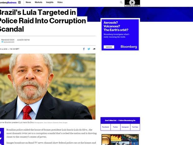 Operação envolvendo Lula é destaque na Bloomberg (Foto: Reprodução/Bloomberg)