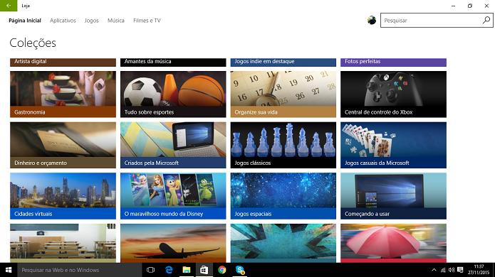 Windows Store tem listas organizadas por temas e funcionalidades de apps e jogos (Foto: Reprodução/Elson de Souza)
