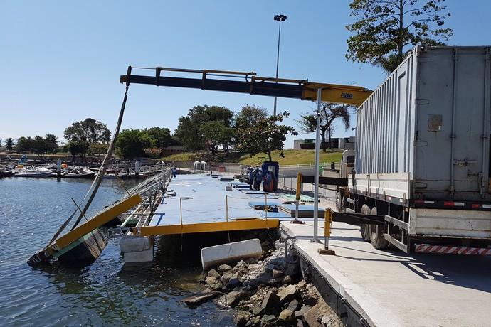 Rampa danificada na Marina da Glória vela (Foto: Leonardo Filipo)