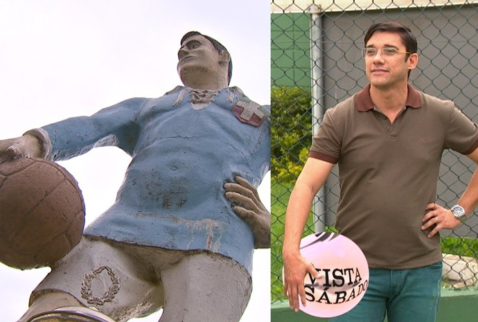 Estátua na cidade homenageia o time Savóia, fundado em Votorantim (Foto: Reprodução/TV TEM)