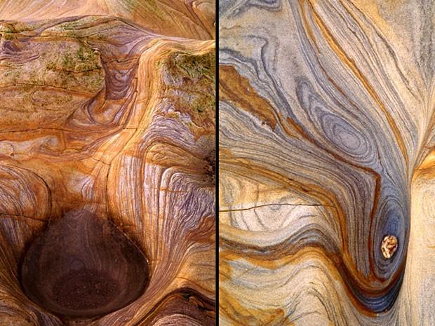 Fotos com complexos padrões espirais em pedras estriadas em Northumberland, na Inglaterra, fazem parte de exposição (Foto: Peter Karry/www.tpoty.com/BBC)