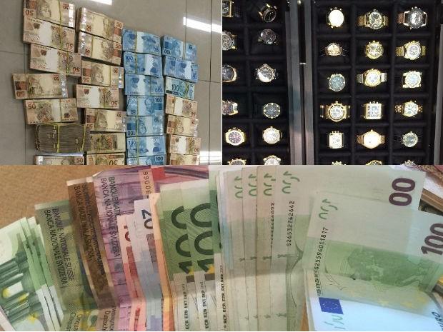 Dinheiro e relógios foram apreendidos na sede da Arxo, em Santa Catarina (Foto: Divulgação/PF)