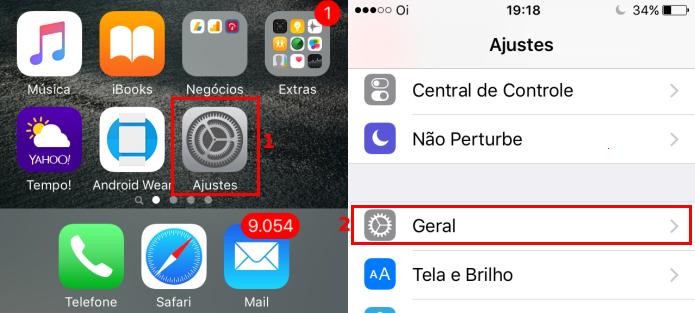 Acessando a opção Geral em Ajustes no iOS (Foto: Reprodução/Edivaldo Brito)