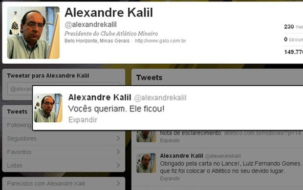 Twitter do Kalil anuncia perman&#234;ncia de Ronaldinho (Foto: Reprodu&#231;&#227;o)