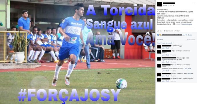 Torcida do Atlético-AC apoia Josy na web (Foto: Reprodução/Facebook)