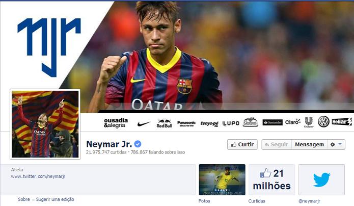 Neymar do Bracelona - 21,711,213 de fãs no Facebook (Foto: Reprodução/Facebook)