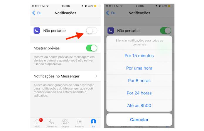 Ativando o modo não perturbe do Facebook Messenger para iPhone (Foto: Reprodução/Marvin Costa)