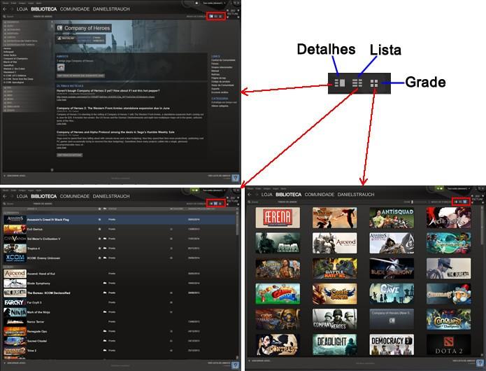 Após definir as categorias dos games, alterne entre os modos de apresentação da biblioteca (Foto: Reprodução/Daniel Ribeiro)