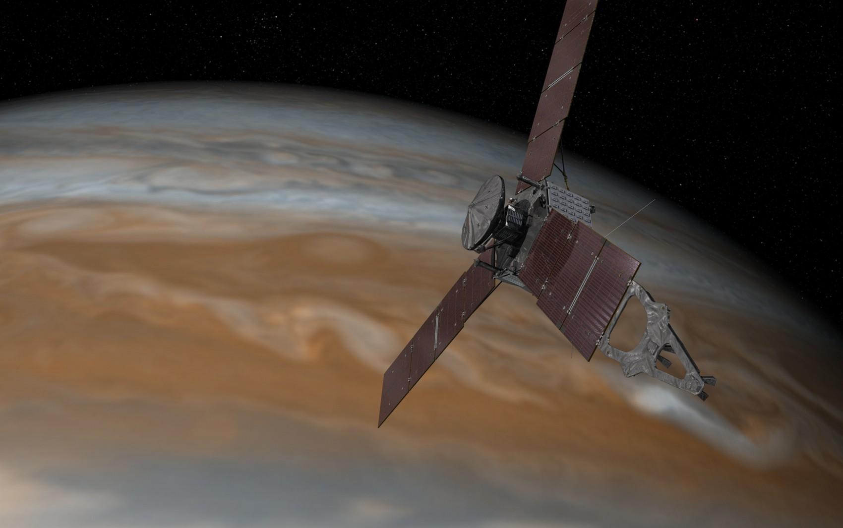 Concepção artística da sonda Juno passando por Jupiter