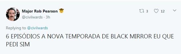 Internauta comemora a divulgação do teaser de 'Black Mirror' (Foto: Reprodução / Twitter)