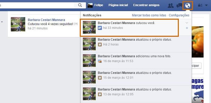 Seu amigo vai receber uma notificação no Facebook caso você cutuque ele (Foto: Reprodução/Barbara Mannara)