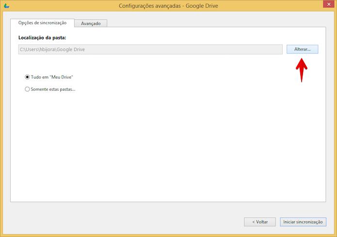 Alterando localização da pasta do Google Drive (Foto: Reprodução/Helito Bijora)