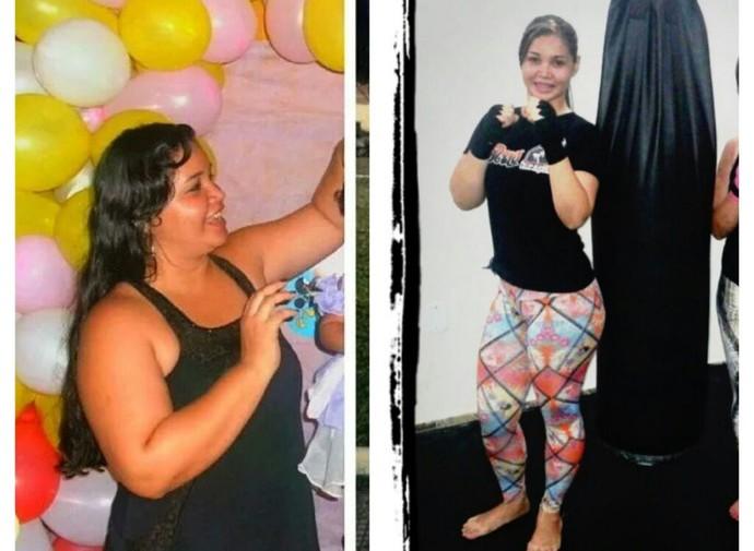 Nilziane Cirino - antes e depois (Foto: Arquivo pessoal/Paulo Cirino)