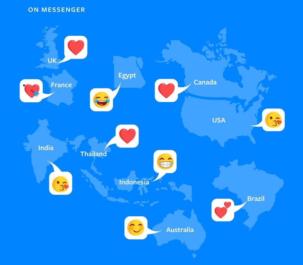 Emojis favoritos ao redor do mundo (Foto: Divulgação/Facebook)