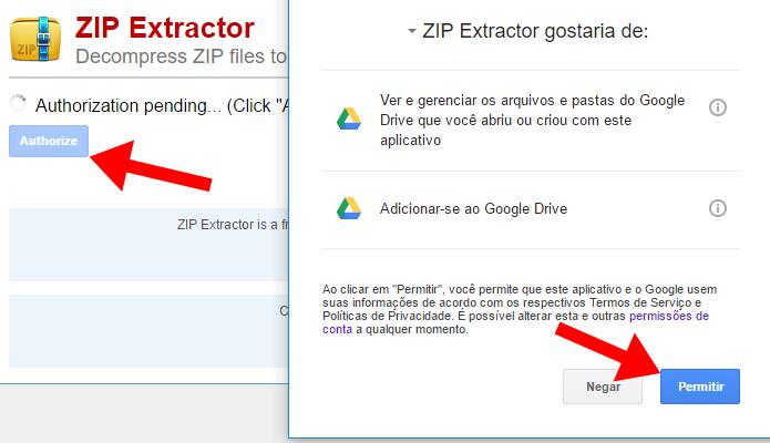 Autorize o ZIP Extractor (Foto: Reprodução/Paulo Alves)