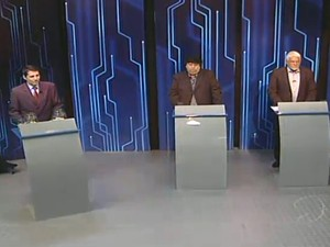 Candidatos debatem na TV Rio Sul (Foto: Reprodução/TV Rio Sul)