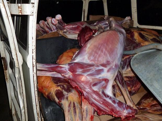 Carne era transportada em cima dos bancos de uma Kombi (Foto: Divulgação / Polícia Civil)