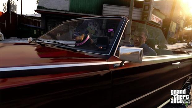 Imagem do game mostra cachorro ao lado de personagem dentro de um carro (Foto: Divulgação)