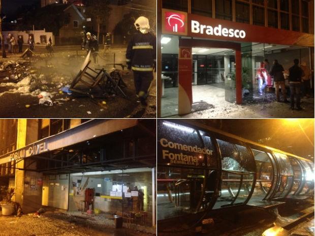 Vândalos destroem prédios públicos e o comércio do Centro Cívico de Curitiba (Foto: Ariane Ducati/ÓTV)