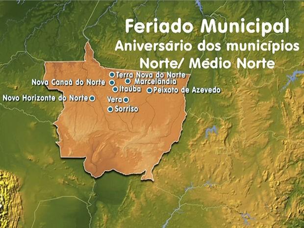Municípios na região Norte/Médio Norte de Mato Grosso que fazem aniversário nesta sexta-feira (Foto: Reprodução/TVCA)