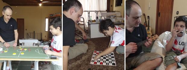 Montagem pai e filho jogando futebol de botão (Foto: Montagem sobre fotos/ Paula Menezes/ G1)