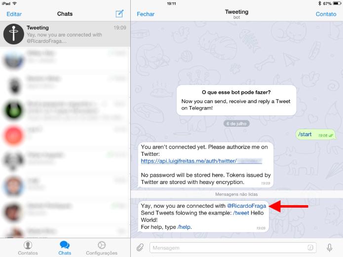 Na mensagem de boas-vindas, o bot exibirá o usuário do Twitter ao qual acabou de ser conectado (Foto: Reprodução/Ricardo Fraga)