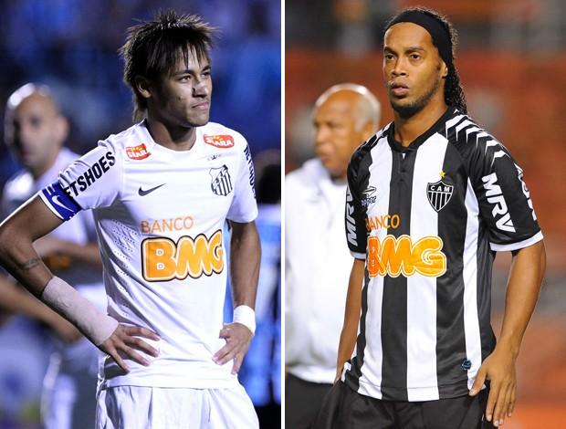 Neymar e Ronaldinho Gaúcho santos x Atlético-MG (Foto: Gustavo Granata / Ag. Estado)