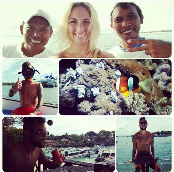Laura posou com locais em dia de mergulho com o amado (Foto: Reprodução)