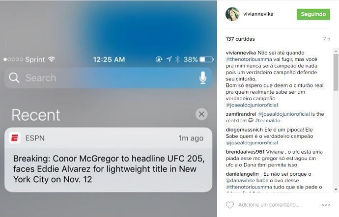"BLOG: Esposa de José Aldo desabafa após saber de Conor x Alvarez: ""Campeão de nada"""