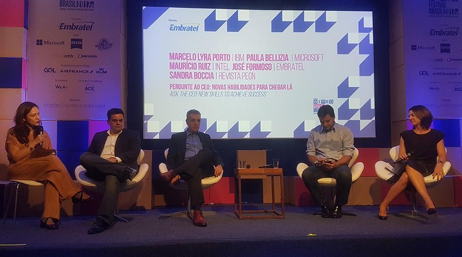 Da esquerda para a direita: Sandra Boccia, Maurício Ruiz, José Formoso, Marcelo Porto e Paula Bellizia, durante o Wired Festival 2017, em São Paulo (Foto: Débora Duarte)