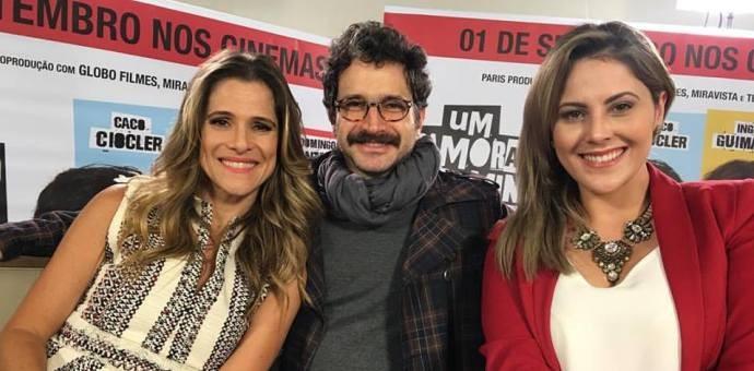 Ingrid Guimarães, Caco Ciocler e Jessica Leão nos bastidores da entrevista  (Foto: Reprodução / TV Diário )