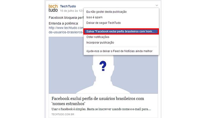 Clique no botão Salvar no menu da postagem desejada (Foto: Reprodução/Paulo Alves)