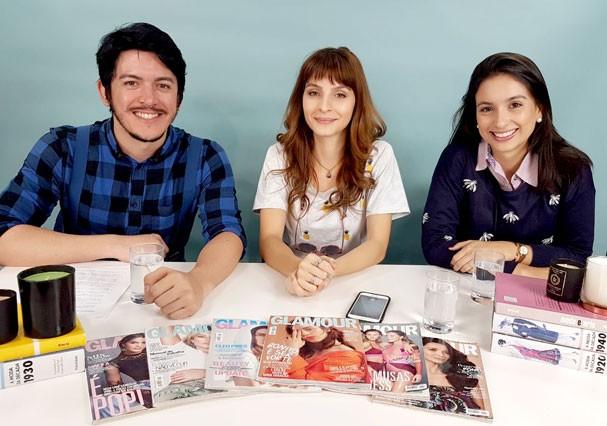 "Felipe Carvalho, Giselle Batista e Flávia Bezerra no ""Glamour Ao Vivo"" (Foto: Stefani Silveira/Glamour)"