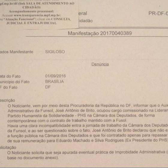 Denúncia contra Eduardo Machado, presidente do PHS (Foto: Reprodução )
