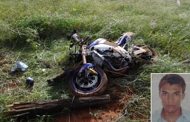 Motociclista morre após se assustar com acidente, perder o controle em curva e bater em cerca, em Ouroana, Rio Verde, Goiás (Foto: Reprodução/TV Anhanguera)