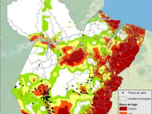 Mapa de risco de queimadas no Pará no dia 12 de setembro de 2016. (Foto: Divulgação/INPE)