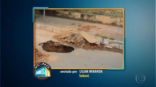 Moradora de Sabará denuncia cratera em frente a creche