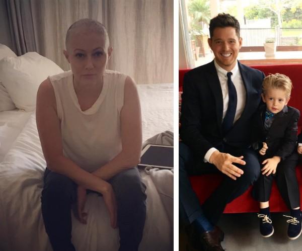A atriz Shannen Doherty e o cantor Michael Bublé com seu filho de três anos (Foto: Instagram)