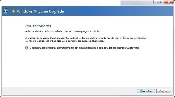 Janela para início da atualização do Windows (Foto: Reprodução/Raquel Freire)