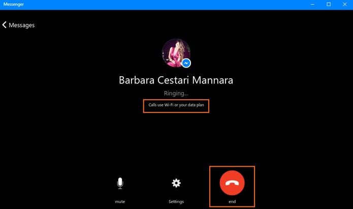A chamada de vídeo será iniciada no Messenger pelo Windows 10 (Foto: Reprodução/Barbara Mannara)