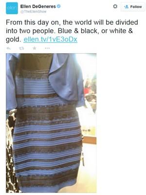 Apresentadora Ellen DeGeneres brinca com a polêmica cor do vestido (Foto: Reprodução/Twitter)