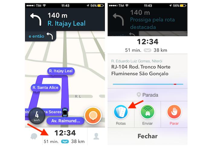 Acessando rotas alternativas no Waze para iPhone (Foto: Reprodução/Marvin Costa)