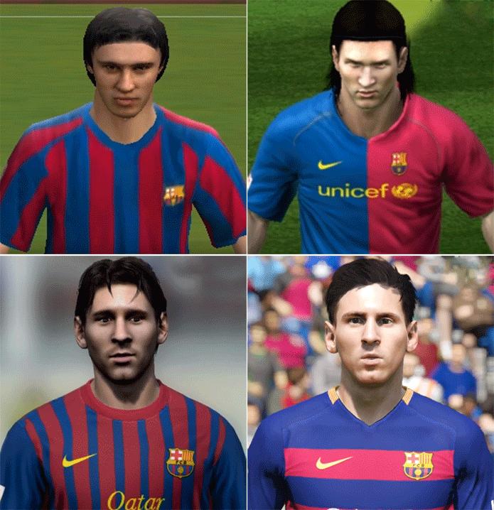 Messi evoluiu bastante não só no futebol como nos gráficos (Foto: Reprodução/Thiago Barros)