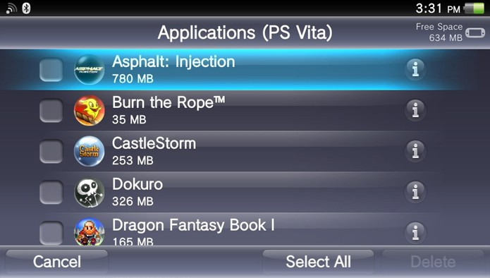 Observe todos os seus jogos ou aplicativos serem listados em ordem alfabética (Foto: Reprodução)