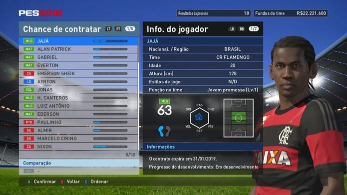 Jajá não se destaca pelo Flamengo em PES 2016 (Foto: Reprodução/Murilo Molina)