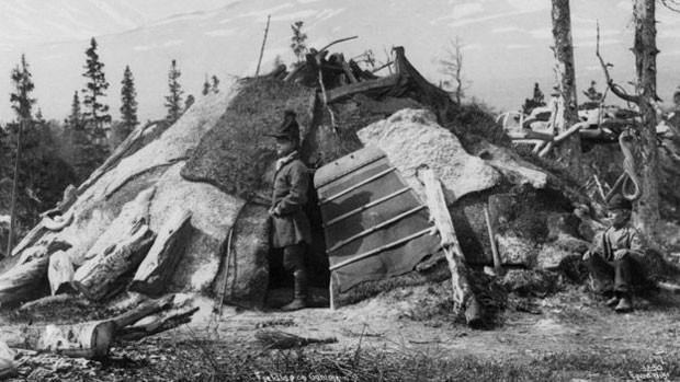 Registro de uma casa do povo saami, natural da Suécia (Foto: Norse Folkemuseum)